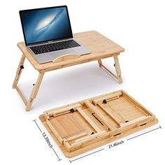 Laptop Desk Adjustable Bamboo Breakfast Serving Bed Tray Tilting Top with Drawer - Trays The Effective Pictures We Offer You About bamboo flooring prices A quality picture can tell you many things. Laptop Desk For Bed, Lap Desk, Laptop Table, Desk Accesories, Wooden Laptop Stand, Table Decor Living Room, Folding Furniture, Wood Joints, Gym Decor