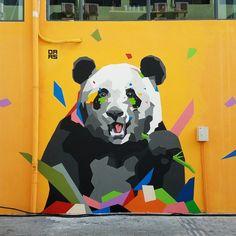 """Daas, """"Pandachan"""", at Jardinorange in Shenzhen, China, 2017 Graffiti Designs, Graffiti Art, Best Graffiti, Graffiti Drawing, Murals Street Art, Street Wall Art, Mural Cafe, Panda Painting, Art Hub"""