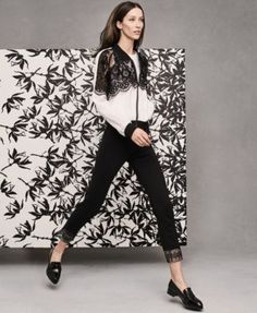YYIGAL Lace-Inset Bomber Jacket & Cropped Pants, A Macy's Exclusive Style | macys.com