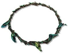 JOSE MARIN TURQUOISE JADE VINE  Necklace. Titanium, sterling silver, lacquer