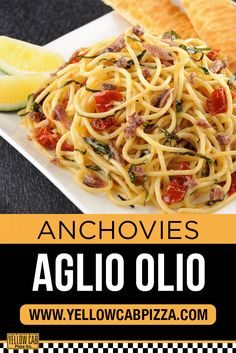 Get this pasta now at www.yellowcabpizza.com! Pizza Special, Aglio Olio, Allrecipes, Cheers, Spaghetti, Pasta, Ethnic Recipes, Food, Pizza