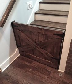 Discover thousands of images about Barn Door Baby Gates Baby Gate For Stairs, Barn Door Baby Gate, Diy Baby Gate, Stair Gate, Baby Gates, Pet Gate, Diy Dog Gate, Pet Stairs, Half Doors