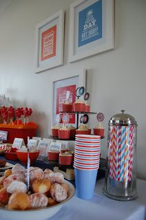 It's Jammin' Time | Fete Accomplice  Blue, orange and red, artwork straws and cups