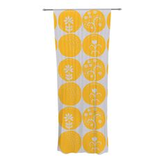 "Anneline Sophia ""Dotty Papercut Yellow"" Circles Gray Decorative Sheer Curtain"