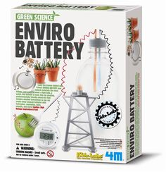 Enviro Battery Science Kit. Uses natural materials like mud, lemons, and water to power a light bulb, a watch, and activate a music chip. Includes detailed instructions so you can create many unusual batteries with fruit juices, vegetables, coins, utensils, etc.