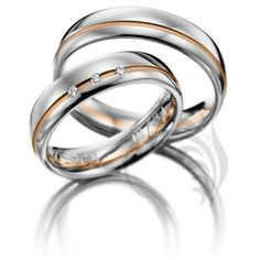 14k White and Rose Gold His and Hers Matching Wedding Rings 015 Carats 5.5mm Wide