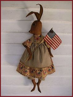 PRIMITIVE FOLK ART Americana Bunny Rabbit by ragpatchprimitives,