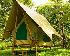 Beautiful tropical cabin and tent on Costa Rica rainforest beach