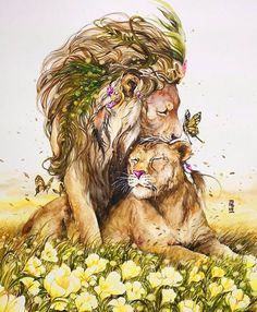Lion and Lioness by Luqman Reza Mulyono Watercolor Animals, Watercolor Art, Animal Drawings, Art Drawings, Art Du Monde, Lion Love, Lion Art, Cat Art, Art Inspo