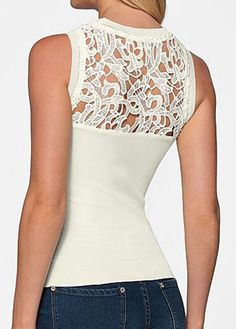 Panel de blusa blanca de cuello redondo de encaje :: Fashionerly Bodysuit, Panel, Tops, Women, Fashion, Spring Fashion, Spring Summer, Crew Neck, Lace
