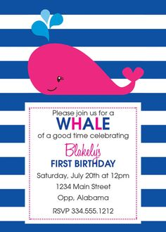Whale of a Good Time Birthday Party by SimplySouthernbyD on Etsy, $8.90