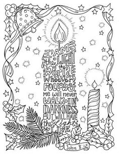 Christmas Candle Coloring Page Christian By ChubbyMermaid On Etsy