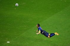 This time it's Robin van Persie of Holland scoring a diving header in their 5-1 rout of Spain.