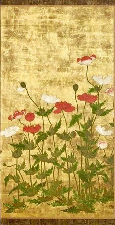 Detail. A two-fold Japanese screen. Edo period, 17th century. Ink and colour on a gold ground with keshi (poppies).