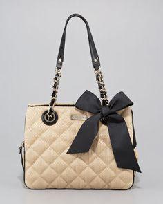 kate spade new york - darcy quilted straw handbag