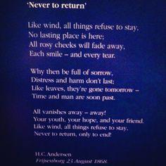 Never to return. Hans Christian Andersen