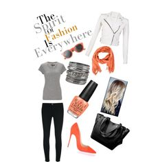 A fashion look from March 2015 featuring rag & bone t-shirts, IRO jackets and J Brand leggings. Browse and shop related looks.