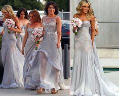 Chris Judd and Rebecca Twigley Wedding Grey Bridesmaid Dresses