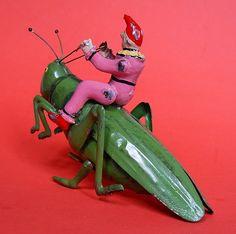 "Antique Tin Toy / 1910 / Eberl ""Grasshopper"""