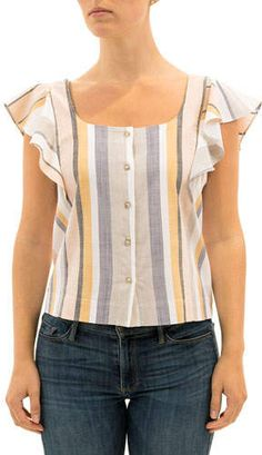 Three Dots Striped Button-Front Flutter-Sleeve Top
