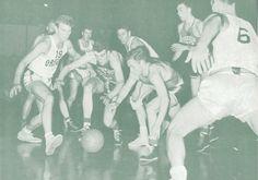 1951 Washington - Oregon basketball game at Mac Court. From the 1951 Oregana (University of Oregon yearbook). www.CampusAttic.com