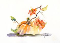 watercolor painting of a small pumpkin