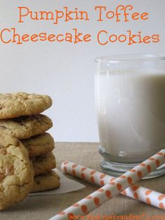 Pumpkin Toffee Cheesecake Cookies today is Nat'l Pumpkin Cheesecake Day - Oct 21