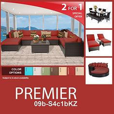 Premier 20 Piece Outdoor Wicker Patio Furniture Package PREMIER09bS4c1bKZ *** You can get more details by clicking on the image.(This is an Amazon affiliate link and I receive a commission for the sales)