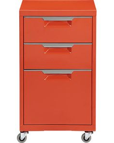 An excellent alternative to the boring, ugly filing cabinet systems. TPS bright orange file cabinet in new furniture Modern Storage Furniture, Modern Home Office Furniture, Affordable Modern Furniture, New Furniture, Furniture Shopping, Furniture Stores, Furniture Ideas, Modern File Cabinet, File Cabinet Desk