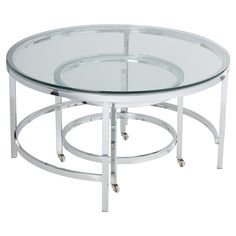 Small nesting coffee tables are the go-to option for small homes. Because a nesting coffee table set can house multiple tables for you without taking up any additional space. Round Glass Coffee Table, Large Coffee Tables, Logan, Chicago Furniture, Contemporary Coffee Table, Nesting Tables, Living Room Modern, Polished Chrome, All Modern