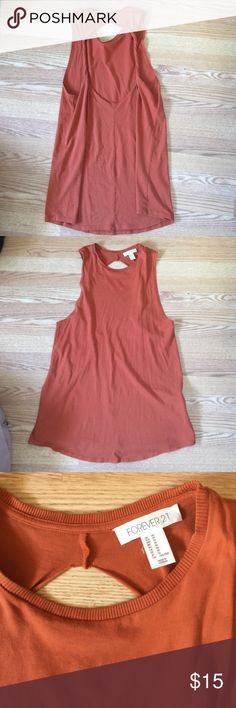 Open Back Tank Dress Burnt orange color open back tank dress. No flaws. Loose fitting, perfect for the beach. Summer is coming :) Forever 21 Dresses Mini