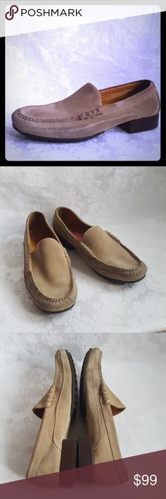 """🔥DISC SHIP🔥Cole Haan Tan Suede Loafers Cole Haan suede driving shoes or loafers.  1 1/4"""" stacked wood heel with rubber tread. Size 10B. Made in Brazil.  Very good used condition. A few small dirt marks. In my opinion the shoes are much cleaner that what the pics show. Due to the texture when the suede is brushed a certain way, some areas look dirty but they aren't.  6th pic shows the darkest dirt areas.   Check out my other listings - 100's of 👠shoes👠, 👢boots👢 and 👜bags👜. Bundle 2 or…"""