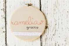 6  Simple Name with Lace Hoop Art  by bluewithoutyoukids on Etsy, $25.00