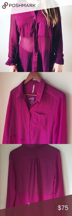 Free People chiffon sheer panel blouse ⋈ Fuchsia button down chiffon blouse ⋈ Design of sheer panels still allow for a bra to be worn underneath since the top portion is opaque ⋈ NWT - price tag gone but extra button attached ⋈ Price is negotiable! Free People Tops Blouses