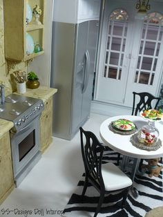 Barbie Dollhouse Kitchen view 1 by SS-Designs Doll Interiors, via Flickr 1:6th Scale