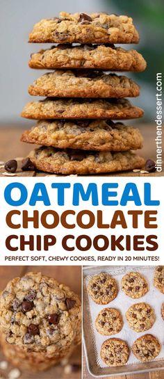 Holiday Cookie Recipes, Holiday Baking, Christmas Baking, Christmas Treats, Christmas Cookies, Oatmeal Chocolate Chip Cookie Recipe, Chocolate Chip Recipes, Oatmeal Cookies, Oatmeal Flavors