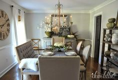"Neutral-colored fall setups are all the rage right now. The photo above shows how well green and neutral tones work together to create a stunning Thanksgiving table setting.  Black and white decal signs help define the season. For instance, notice the ""in everything give thanks"" sign in the back of the room. Yet white pumpkins and green foliage give a unique twist. There are even green pumpkins off to the right to add color coordination to the green foliage."
