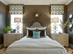In love! Colors and design!!! An upholstered headboard evokes traditional elegance with nailhead trim and a distressed finish.