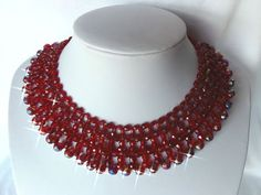VINTAGE DEEP RED GLASS & AB CRYSTAL WOVEN CROCHET LIKE CHOKER NECKLACE