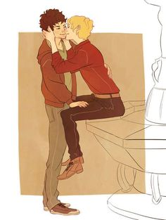 Enjolras and Grantaire <- Am I the only one who thinks that Enjolras looks like he's perched on the TARDIS console?