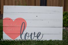 Personalized Wood Sign Wedding guest book alternative with Wrap-Around Heart (White Distressed) via Etsy