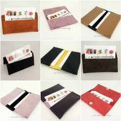 Store your business cards in one of these gorgeous recylced leather and suede business card wallets. Some of the wallets are stiff enough to use as table top holders. A labour of love! Now available for purchase from my shoppe Modern Wednesday.  A friend of mine was inspired by these business card wallets to order book covers in a very similar design, so if you think you would like one as well (fabric and leather available) just drop me a line!