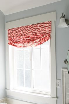 Diy Faux Relaxed Roman Shade Is orange/navy pattern for Ethan window