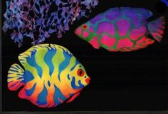 3D Fluoro Tropical Fish stuffed canvas painted and viewed with ultraviolet light