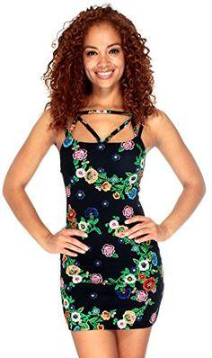 23081dc520 Womens Floral Print Sleeveless Spaghetti Strap Short Mini Dress Navy M --  Be sure to