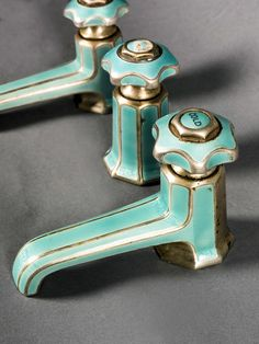 Art Deco enameled bath taps -   1925-1935 -   Marked 'sterling silver - silver mounted', pale green guilloche enamel  together with a central tap enabling plug release, losses to enamel  enamel, sterling silver - Mark Birley, The Private Collection - Sotheby's