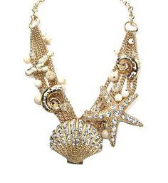 Women Fashion Summer Spring Gold Ocean Inspired Nautical Theme Sea Shells Star Fish Beads Crystals Statement Necklace Set, http://www.amazon.com/dp/B00CZ28L48/ref=cm_sw_r_pi_awdm_jPc5sb0PTMKDG