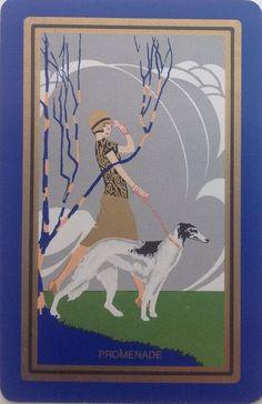 ART DECO SWAP PLAYING CARD - 'Promenade' Lady Walking Borzoi Dog
