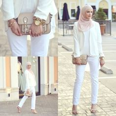 classy white hijab outfit- New street looks by Leena Asaad http://www.justtrendygirls.com/new-street-looks-by-leena-asaad/