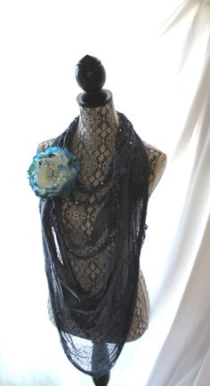 Romantic fabric rag necklace scarf necklace by TrueRebelClothing, $20.00